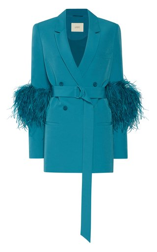 Belted Feather-Detail Crepe Blazer