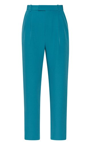 High-Waisted Pleated Crepe Pants