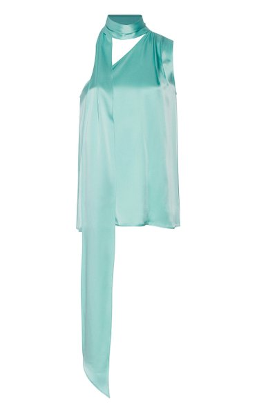 One-Shoulder Satin Tie-Neck Top