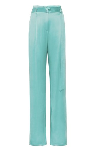 High-Waisted Double-Faced Satin Pants