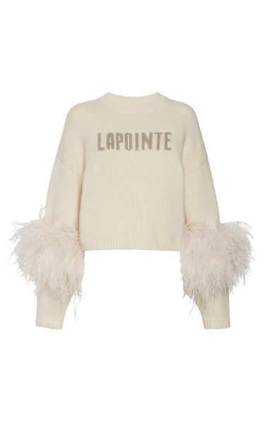 Feather-Detail Logo Wool-Cashmere Sweater