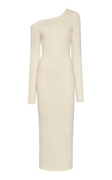 One-Shoulder Ribbed Knit Midi Dress
