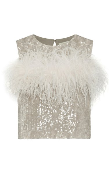 Sequined Feather-Detailed Tank Top