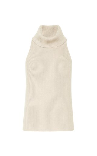 Turtleneck Wool-Cashmere Tank Top