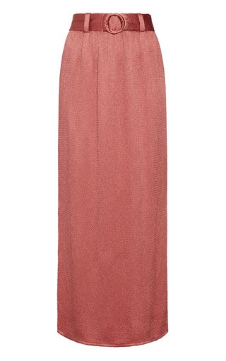 Smocked Belted Satin Skirt