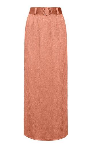 Belted Smocked Satin Midi Skirt