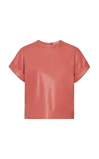Faux-Leather Dolman Tee