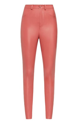 Faux-Leather High-Rise Skinny Jeans