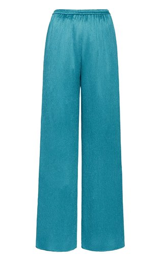 Smocked Wide-Leg Satin Pants