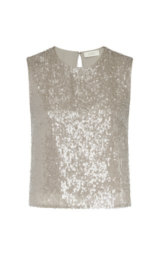Sequined Cropped Tank Top