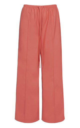 Pin Tucked Wide-Leg Faux-Leather Pants