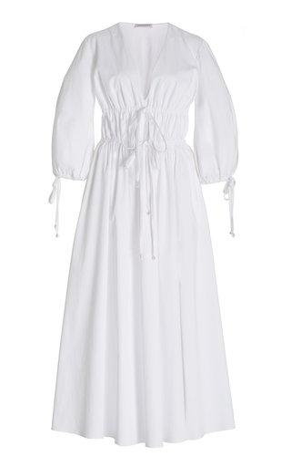 Donrine Tie-Accented Stretch Cotton Maxi Dress