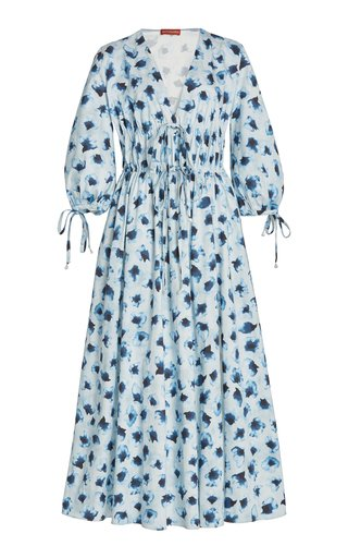 Donrine Tie-Accented Printed Cotton Maxi Dress