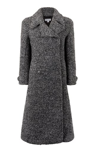 Neutral Belted Double-Breasted Mélange-Knit Coat