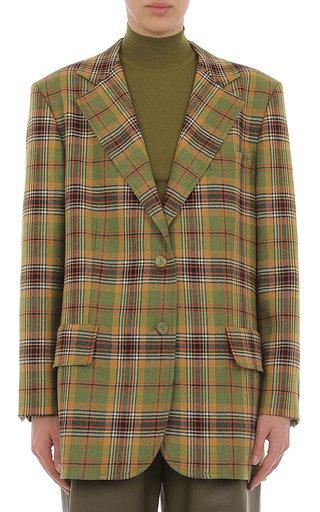 Tartan Wool Tailored Blazer