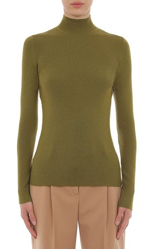 Extra Fine Merino Wool Ribbed Turtleneck Top