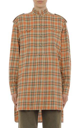 Tartan Flannel Oversized Poplin Micro Collar Shirt