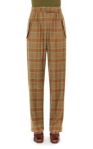 Tartan Wool Pleated Buckle Pant