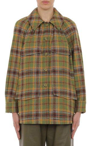 Tartan Wool Voluminous Pleated Sleeve Jacket