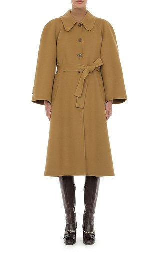 Felt Rounded Collar Coat With Waist Tie