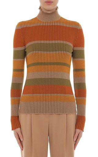 Extra Fine Merino Wool Ribbed Striped Turtleneck Top