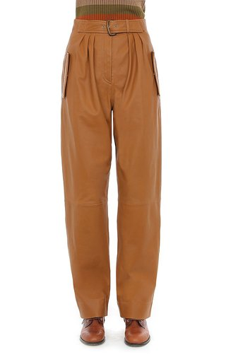 Nappa Leather Pleated Belted Trousers