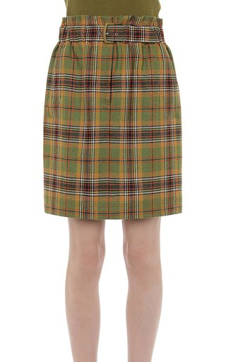 Tartan Wool Paper Bag Waist Buckle Mini Skirt