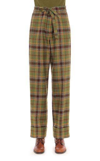 Tartan Wool Paper Bag Waist Trousers