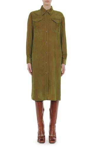 Iridescent Velvet Button-Down Shirt Dress
