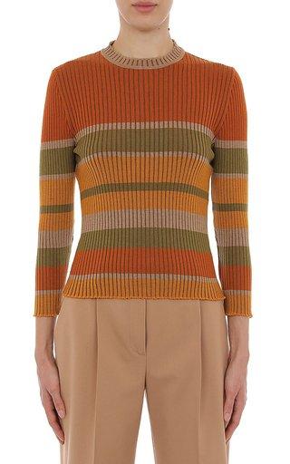 Extra Fine Merino Wool Ribbed Striped Crewneck Top