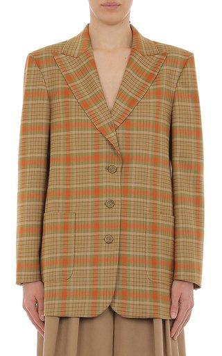 Tartan Wool Single Breasted Blazer