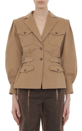 Multi Pocket Stretch Cotton Gabardine Jacket With Waist Buckles And Pleated Sleeves