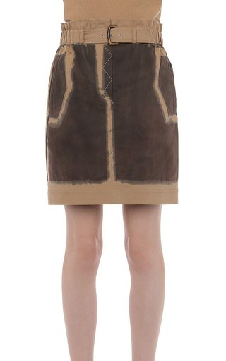 Hand Dyed Stretch Cotton Gabardine Mini Skirt With Buckle