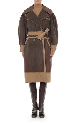 Hand Dyed Stretch Cotton Gabardine Trench Coat With Rounded Sleeves