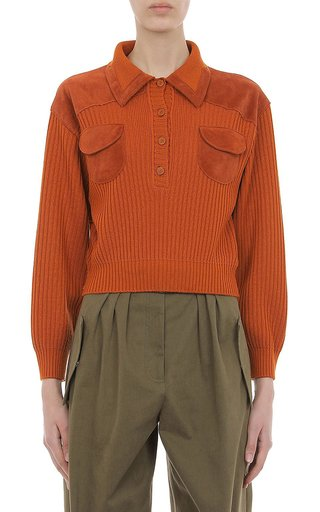 Extra Fine Merino Wool Ribbed Sweater With Suede Inset Pockets And Shoulder