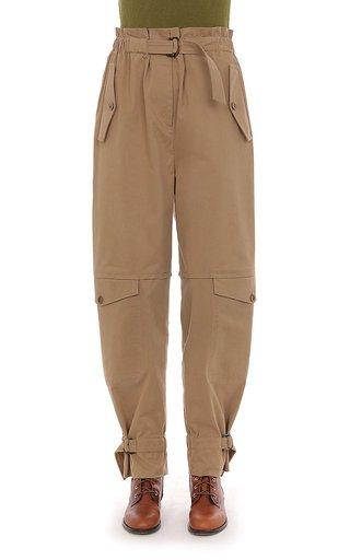 Stretch Cotton Gabardine Cargo Pants With Paper Bag Waist