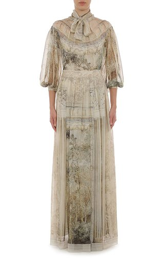 Trompe L'Oeil Printed Chiffon Gown With Necktie And Flounced Sleeves