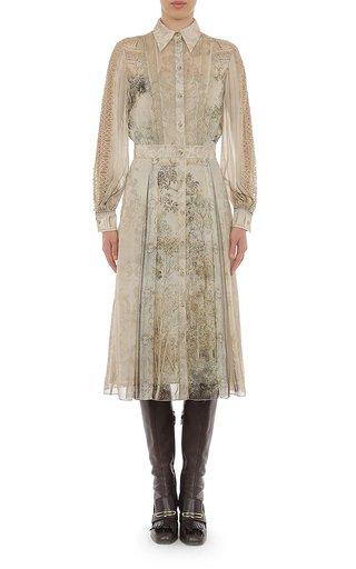 Trompe L'Oeil Printed Chiffon Shirt Dress With Macramé Sleeve Detailing
