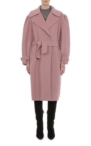 Felt Coat With Rounded Puff Shoulder Sleeves