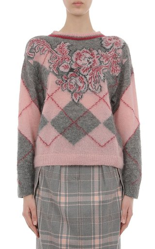 Argyle And Floral Printed Superkid Mohair Sweater