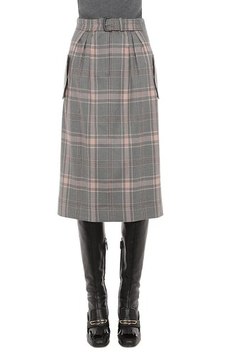 Tartan Wool Knee Length Skirt With Buckle