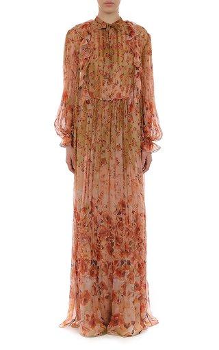Flower Print Creponne L/S Gown
