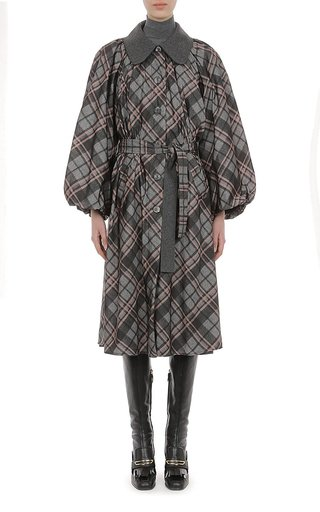 Reversible Check Print Nylon And Wool Coat With Puffed Sleeve