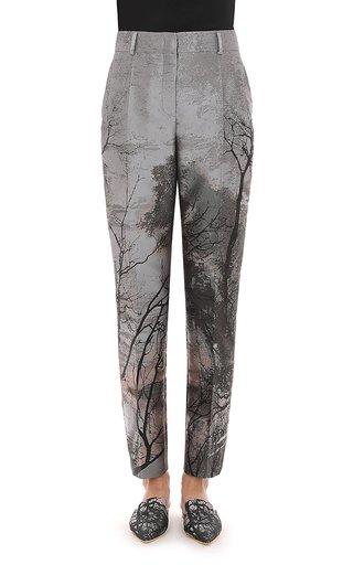 Landscape Print Metallic Jacquard Slim Trouser
