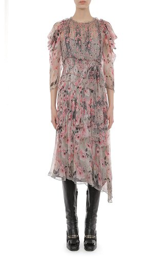 Floral Printed Creponne Midi Dress With Draped Shoulder