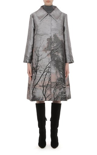 Landscape Print Metallic Jacquard Coat