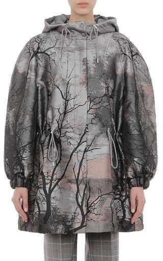 Landscape Print Metallic Anorak Jacquard Jacket