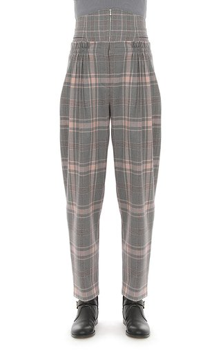 Tartan Wool Trousers With Corseted Waist