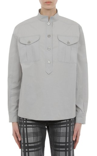 Stretch Poplin Half Button Shirt With Micro Collar