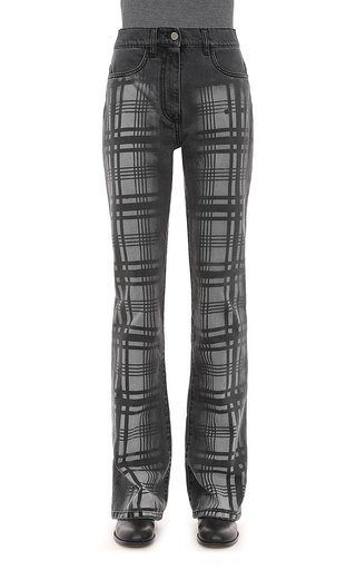 Hand Treated Tartan Printed Denim Trousers